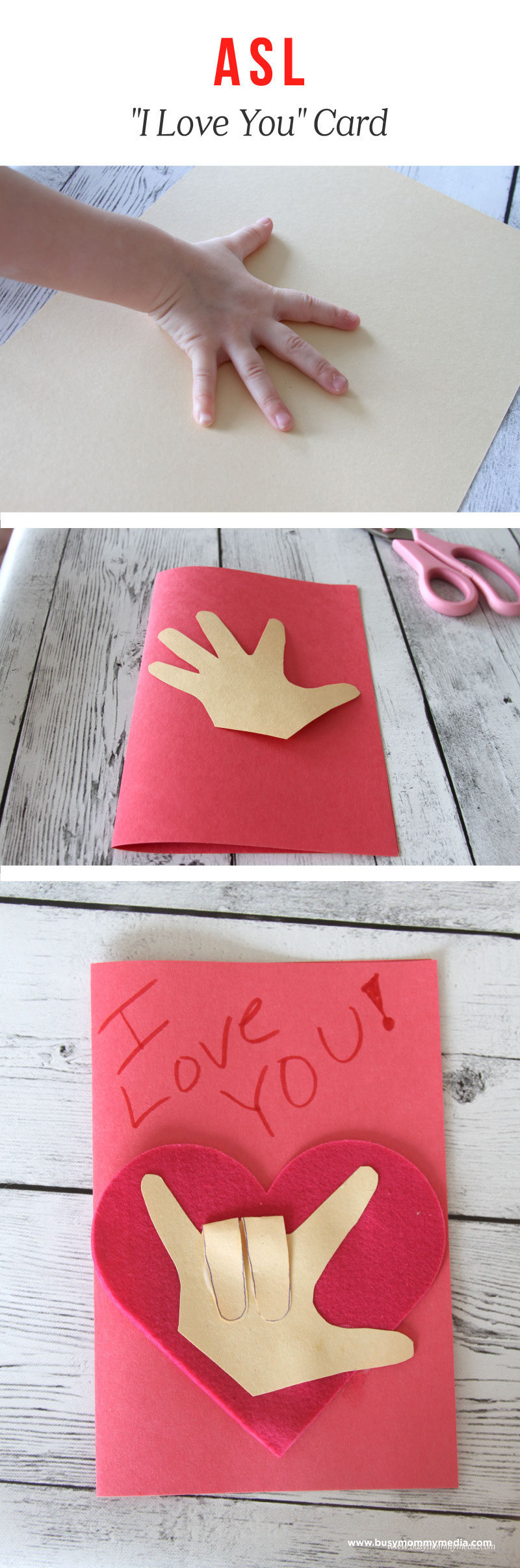 """ASL Craft for Kids - """"I Love You"""" Card for Valentine's Day"""