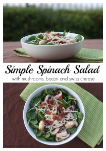 Spinach Salad - This salad is packed with mushrooms, bacon, and cheese and it's always a crowd-pleaser!