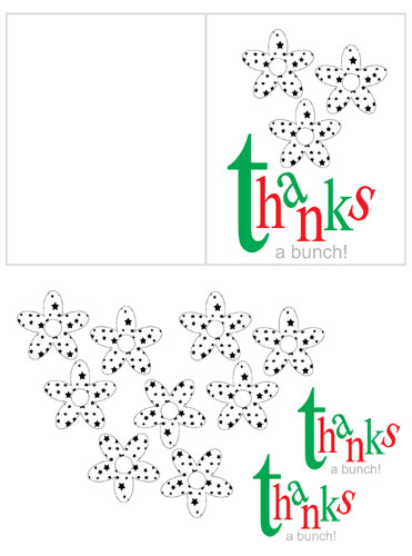 "Free Printable Thank You card: ""Thanks a Bunch"""