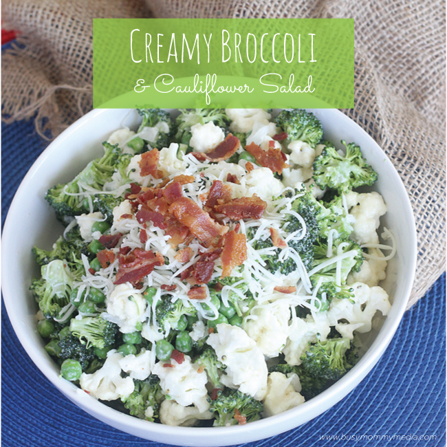 Creamy Broccoli Cauliflower Salad on BusyMommyMedia.com