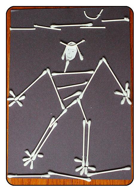 Preschool Art Q Tip Skeleton