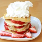 Strawberry coconut pancake stack