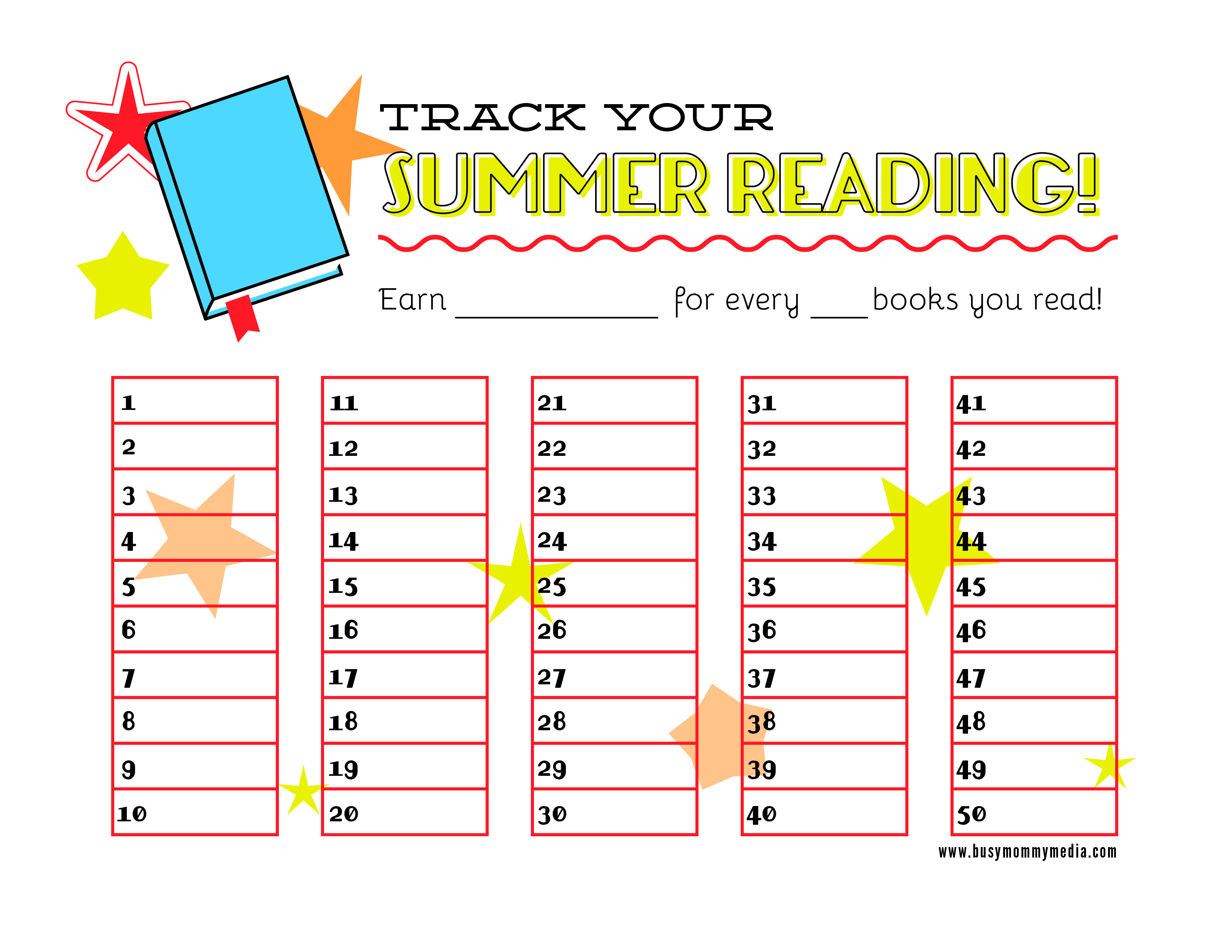 picture relating to Printable Reading Chart identified as Cost-free Printable Summer season Reading through Chart