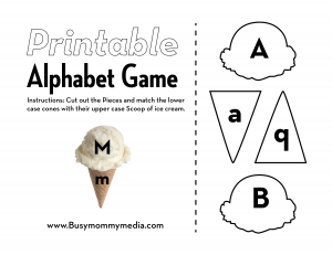 Preschool Printable: Ice-Cream Alphabet Matching Game