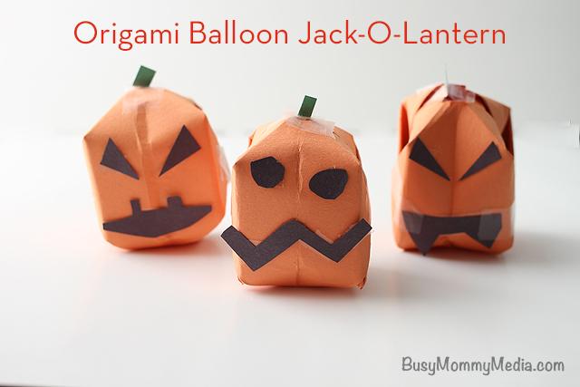Origami Balloon Jack-O-Lantern on BusyMommyMedia.com