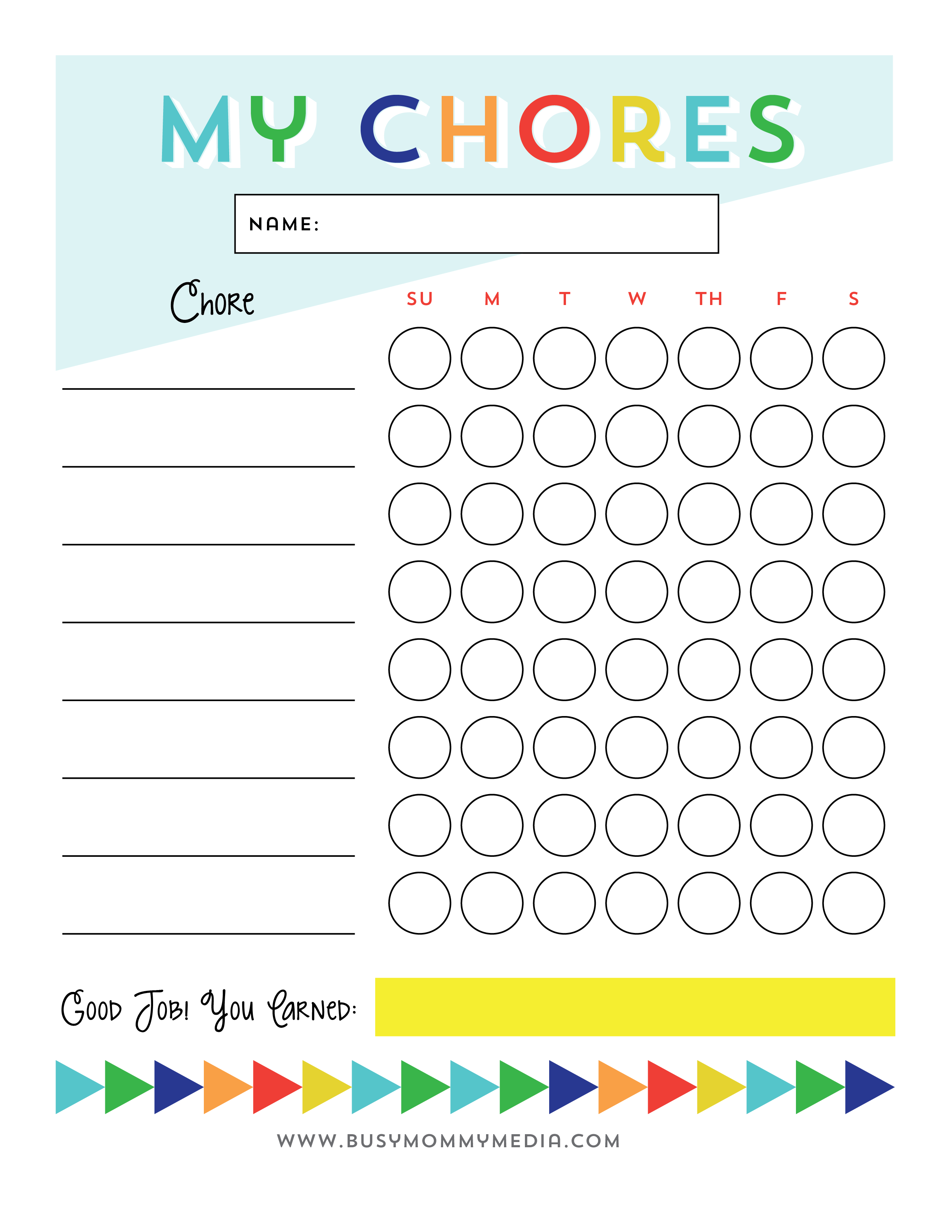 photo relating to Free Printable Chore List titled Totally free Printable - Chore Chart for Small children