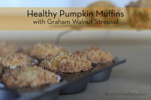 Healthy Pumpkin Muffins with Graham Walnut Streusel