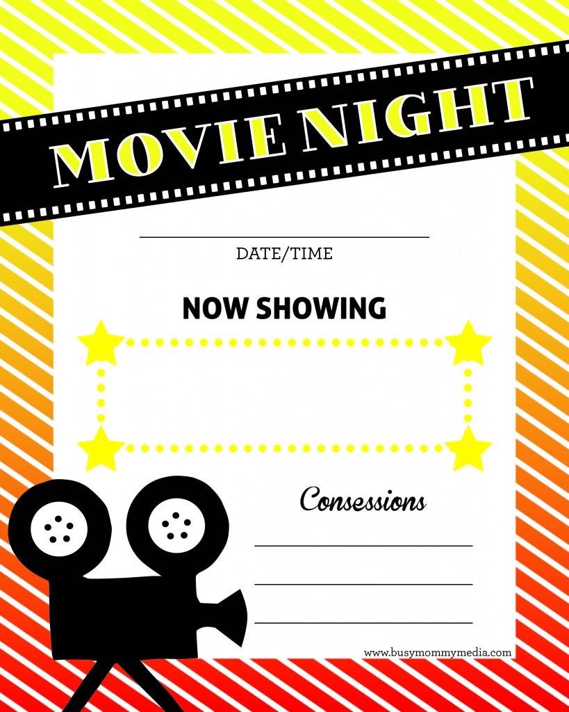 Free Family Movie Night Printable