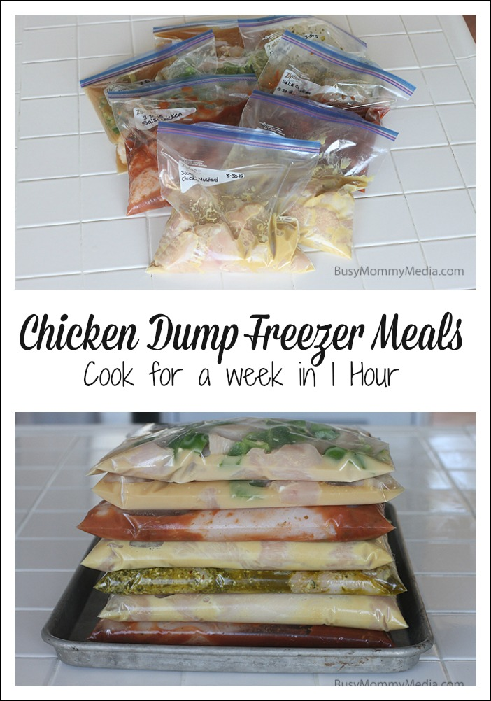 Chicken Dump Freezer Meals - Cook for a week in one hour! on BusyMommyMedia.com