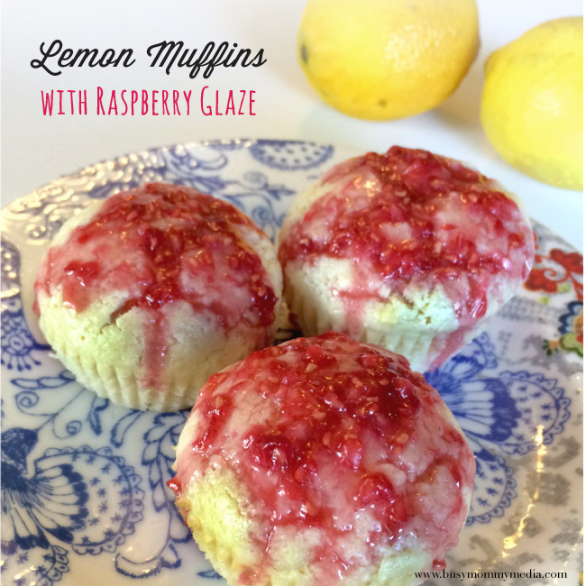Lemon Muffins with a Raspberry Glaze