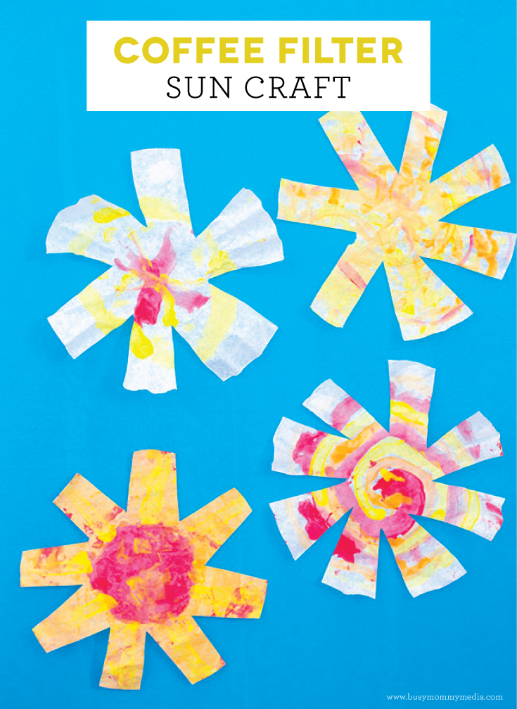 Coffee Filter Sun Craft on BusyMommyMedia.com