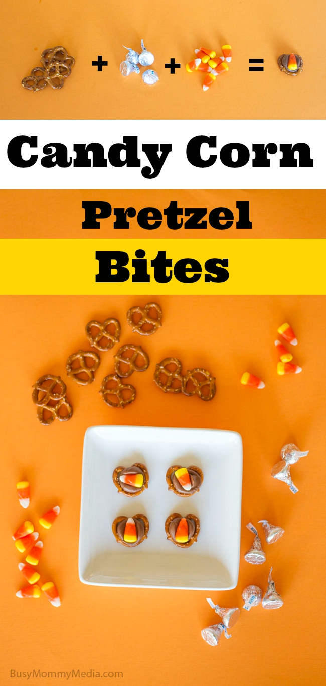Candy Corn Pretzel Bites on BusyMommyMedia.com   This is such a fun Halloween treat!