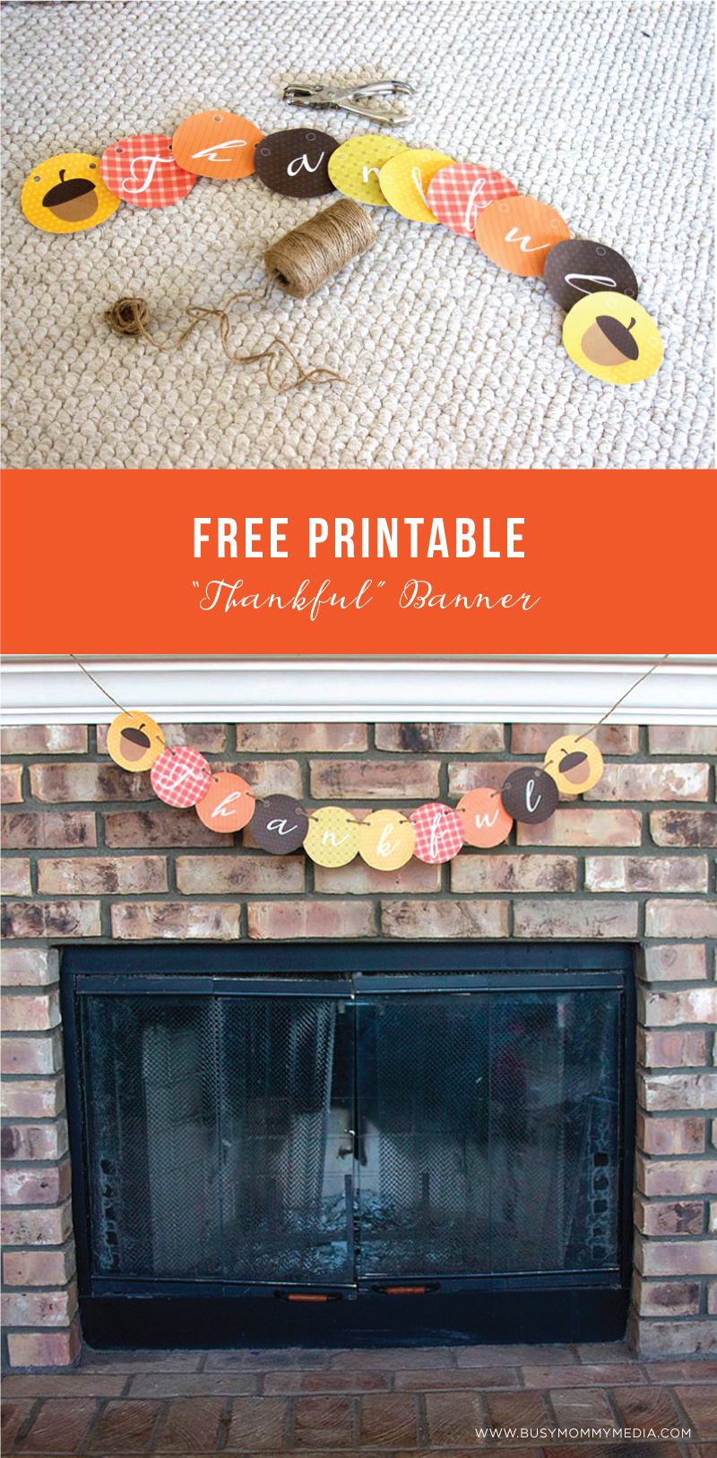 """Free Printable """"Thankful"""" Banner on BusyMommyMedia.com 