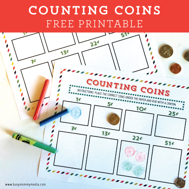 Crayon Rubbing Coin Counting Printable on BusyMommyMedia.com