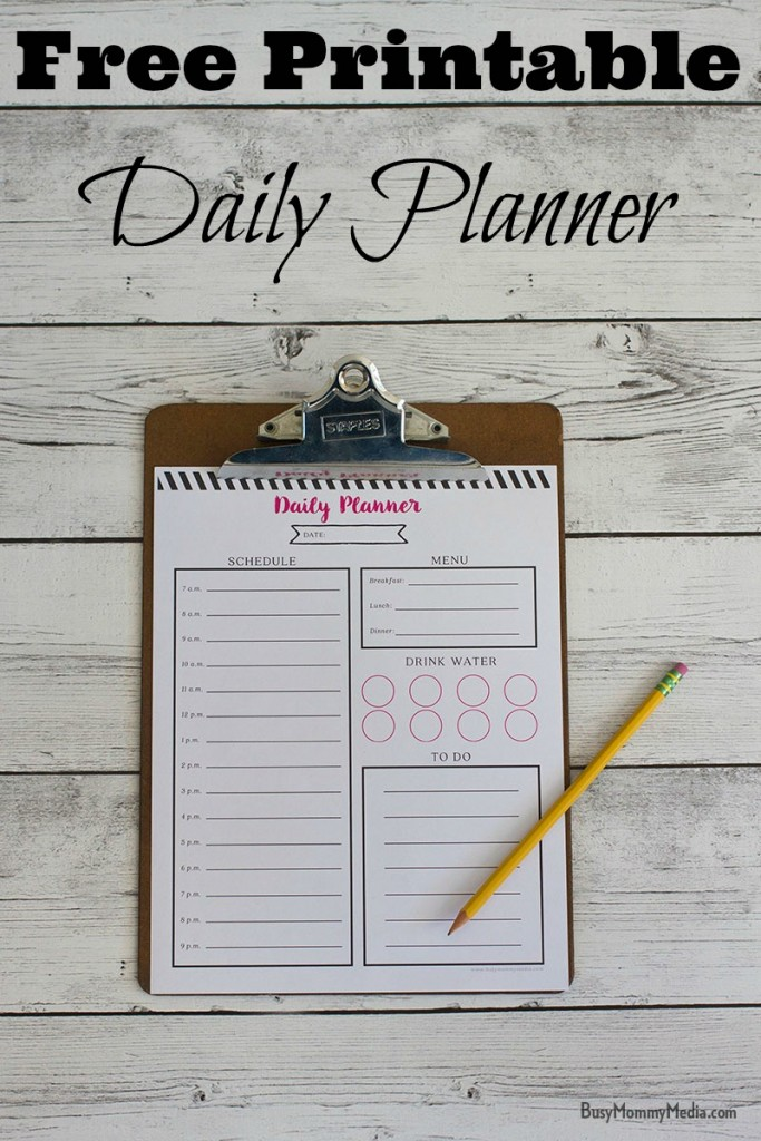 Free printable daily planner - See your entire day at a glance. This is such a great way to stay on task!