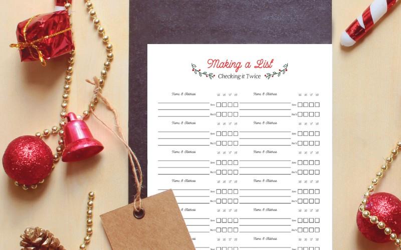 Free Printable Christmas Card Address List