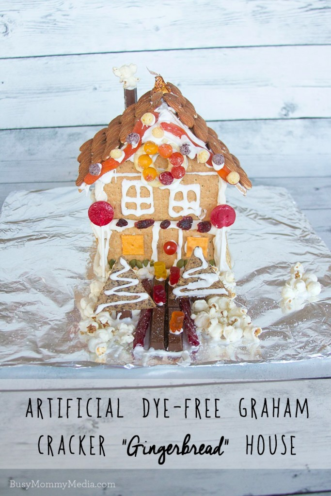 "Artificial Dye-Free Graham Cracker ""gingerbread"" houses"