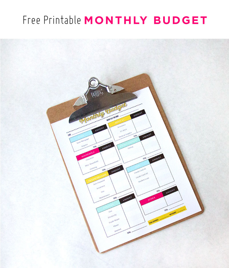 Free Printable Monthly Budget | This is so cute! What a great way to get on top of your finances!