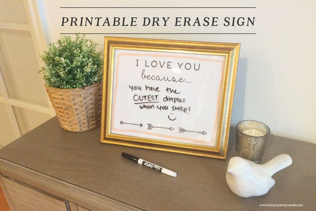 Printable Quot I Love You Because Quot Dry Erase Sign