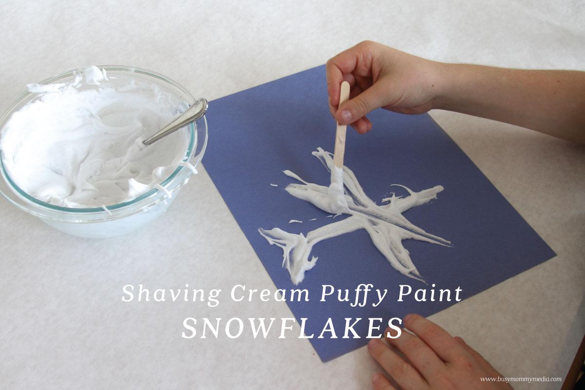 Shaving cream puffy paint snowflakes for Shaving cream paint