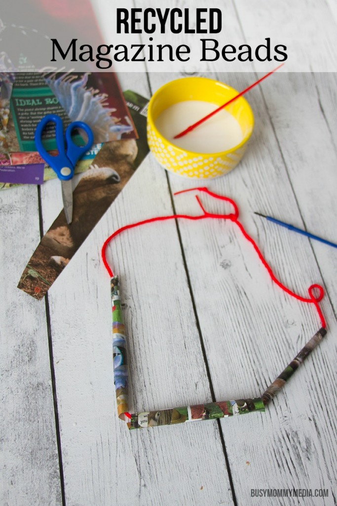 Recycled Magazine Beads   This is a great DIY project for Earth Day! My kids love making wearable crafts.