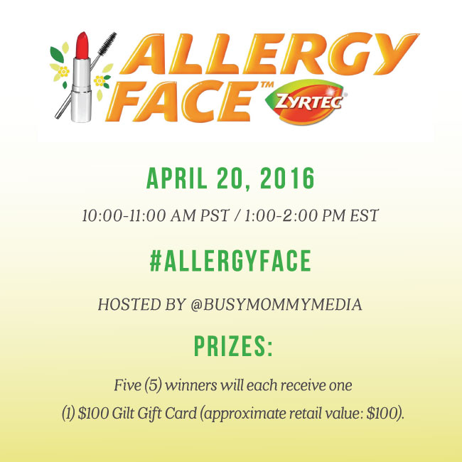 Join us on April 20th for the #ALLERGYFACE Twitter Chat brought to you by the makers of ZYRTEC®!