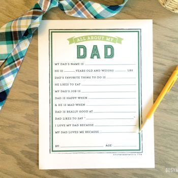 Father's Day Printable | This is such a fun gift idea for Father's Day! I'd save these to look back on as kids get older!
