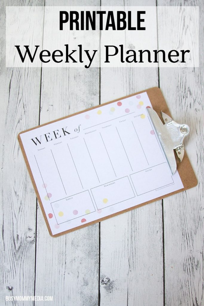 Printable Weekly Planner from BusyMommyMedia.com