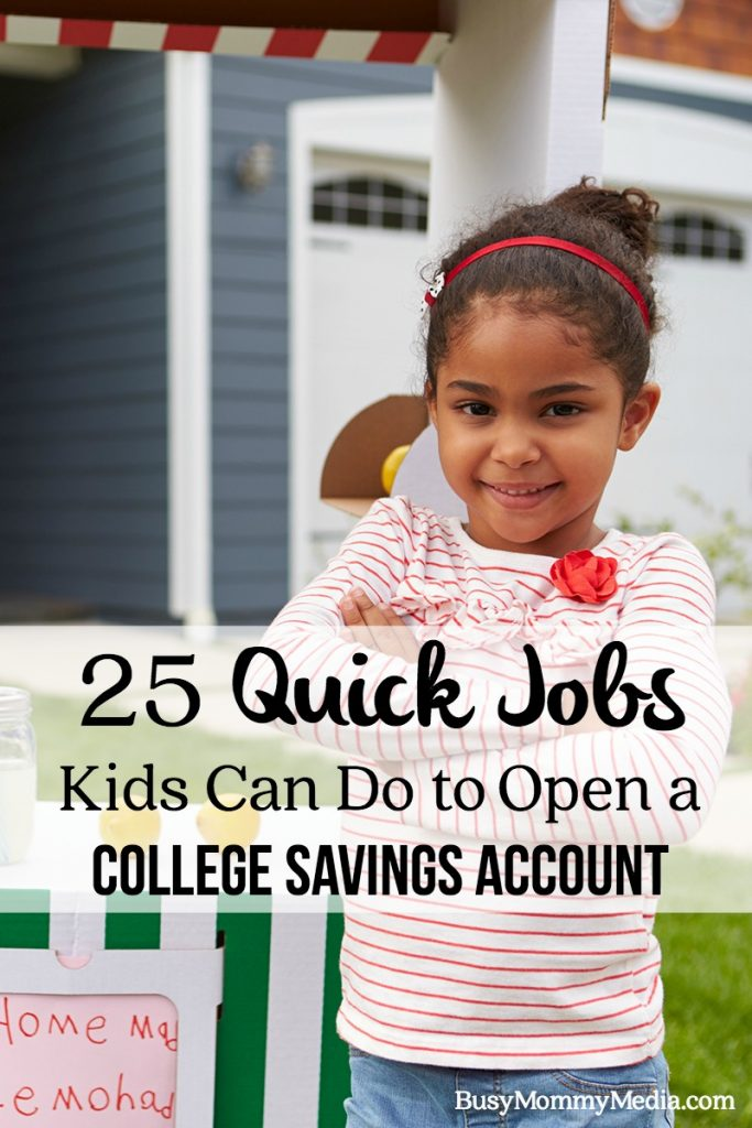 23 Quick Jobs Kids Can Do to Open a College Savings Account