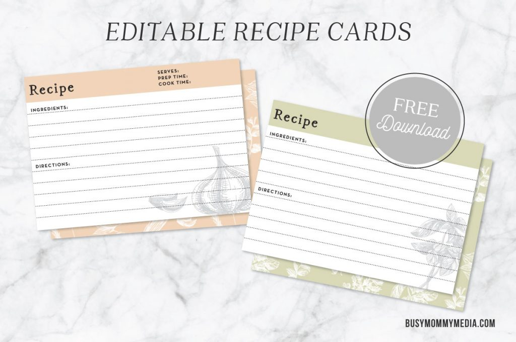 Editable recipe cards for Editable recipe card