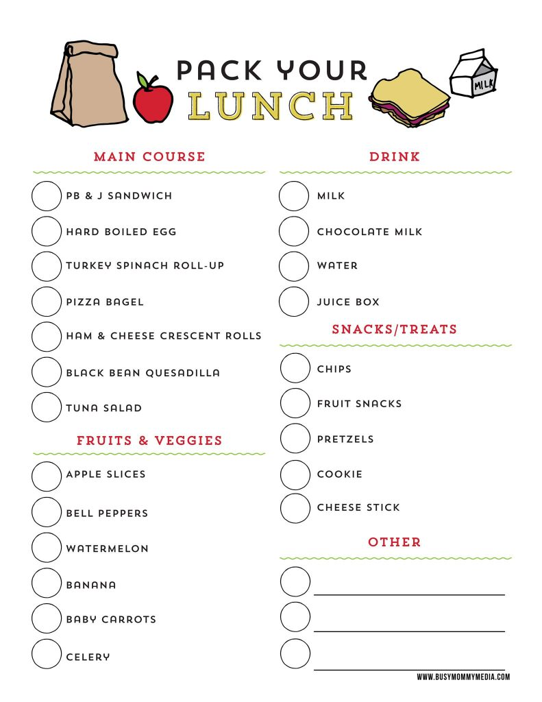 School lunch printable