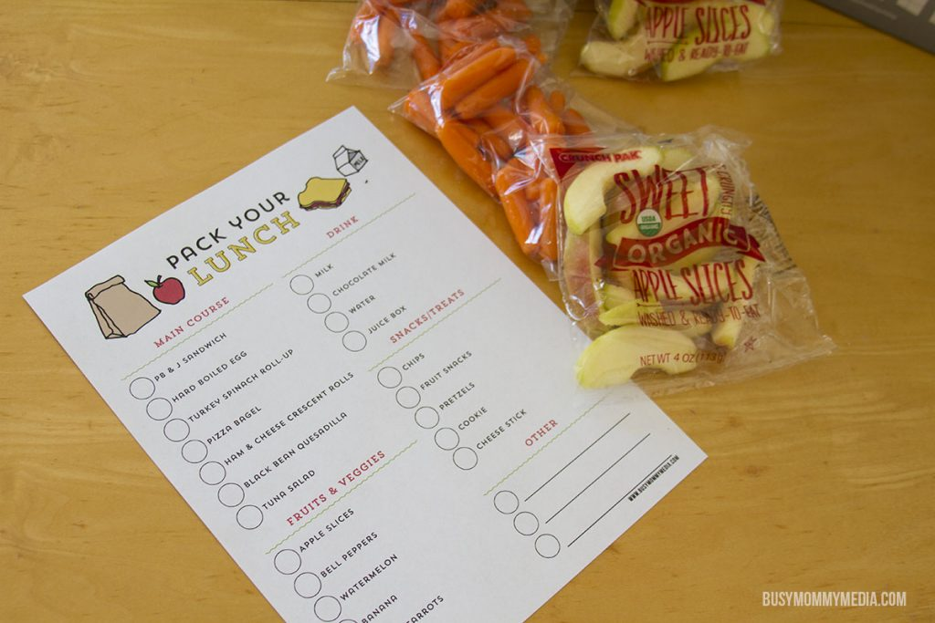 Printable school lunch form