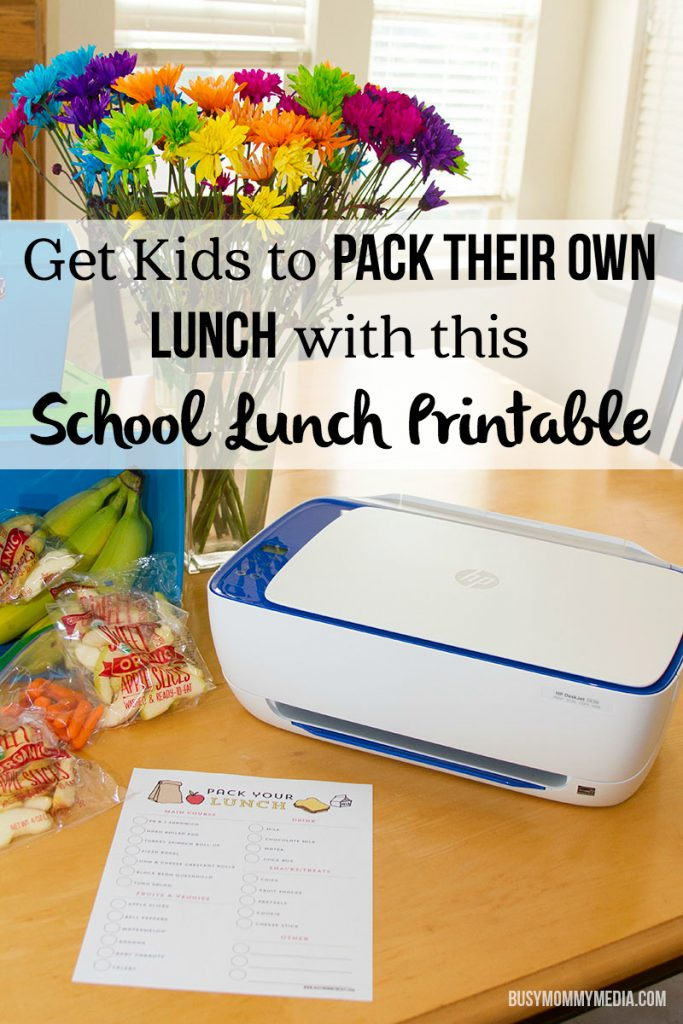 Get Kids to Pack their Own Lunch with this School Lunch Printable | What a great way to get kids to pack their own school lunches!