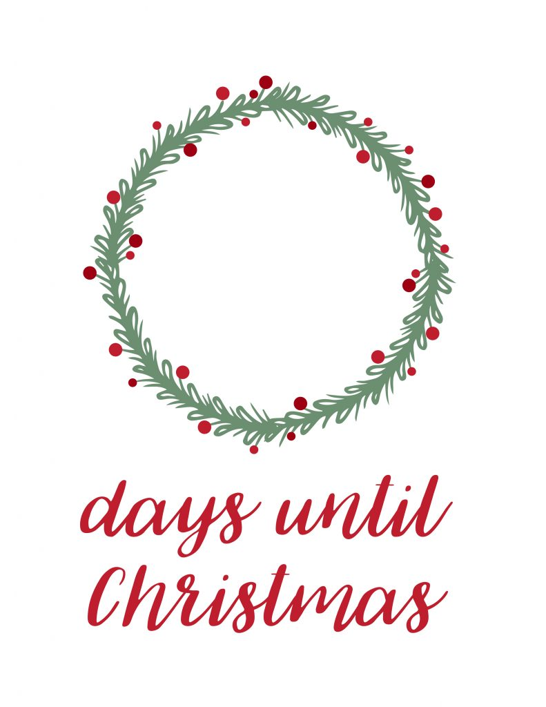Printable Dry Erase Christmas Countdown