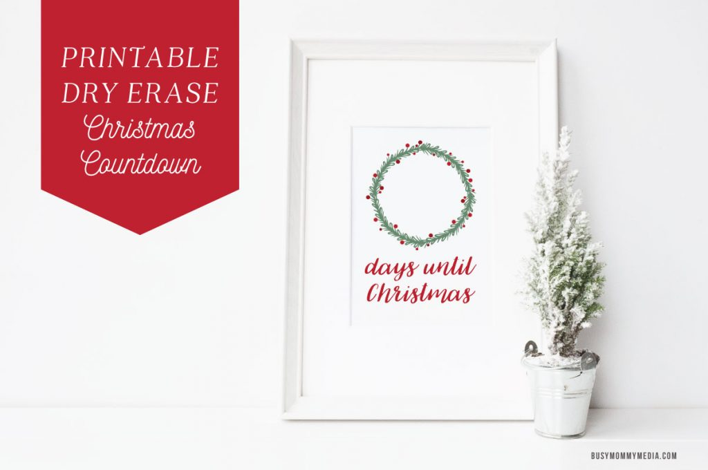 photograph about Countdown Printable named Printable Dry Erase Xmas Countdown