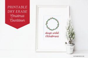 Printable Dry Erase Christmas Countdown