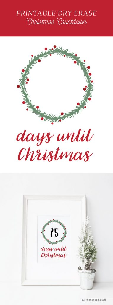Days until Christmas Printable - This dry erase Christmas countdown is such a fun idea! I love the clean look of this and it is so easy to change the number each day as you count down until Christmas! So fun for kids!!
