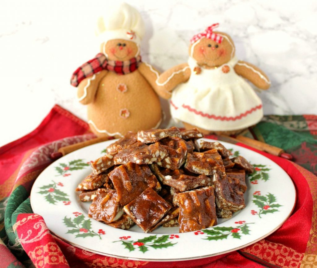 Sticky Chewy Gingerbread Toffee with Almonds