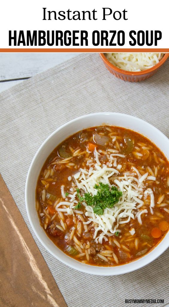 Instant Pot Hamburger Orzo Soup - This is the ultimate comfort meal!