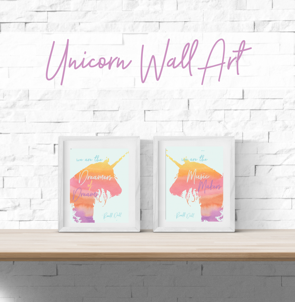 Printable Unicorn Wall Art - This would look fantastic framed in a little girl's bedroom!