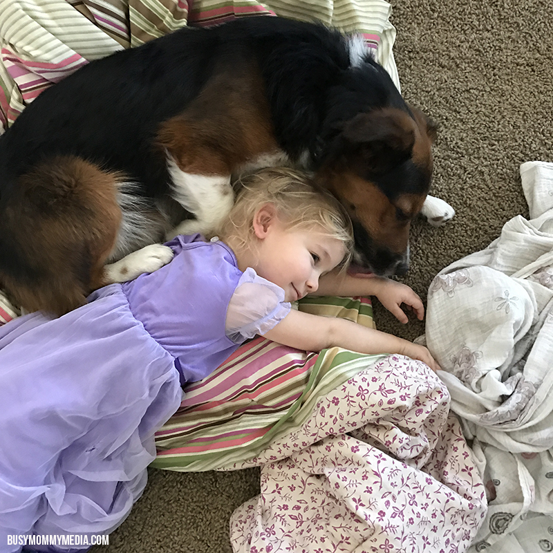 Dog cuddling with Toddler
