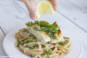 Parmesan Herb Crusted Chicken with Creamy Spring Veggie Linguine