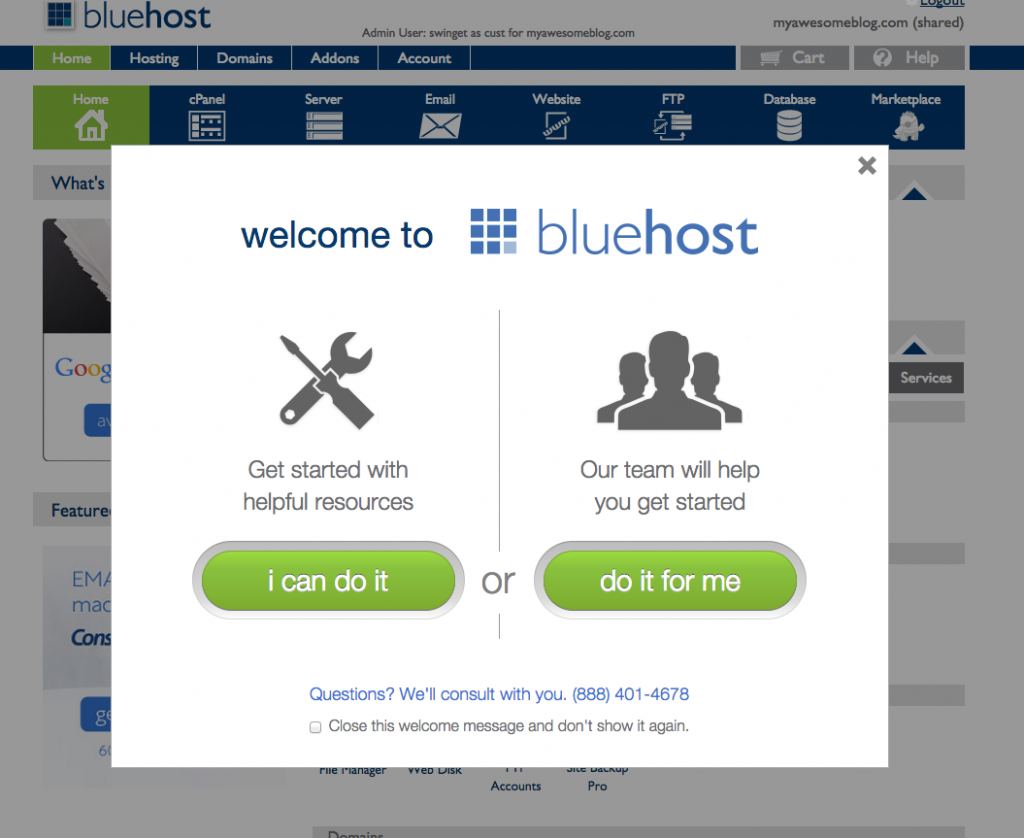 BlueHost Welcome message