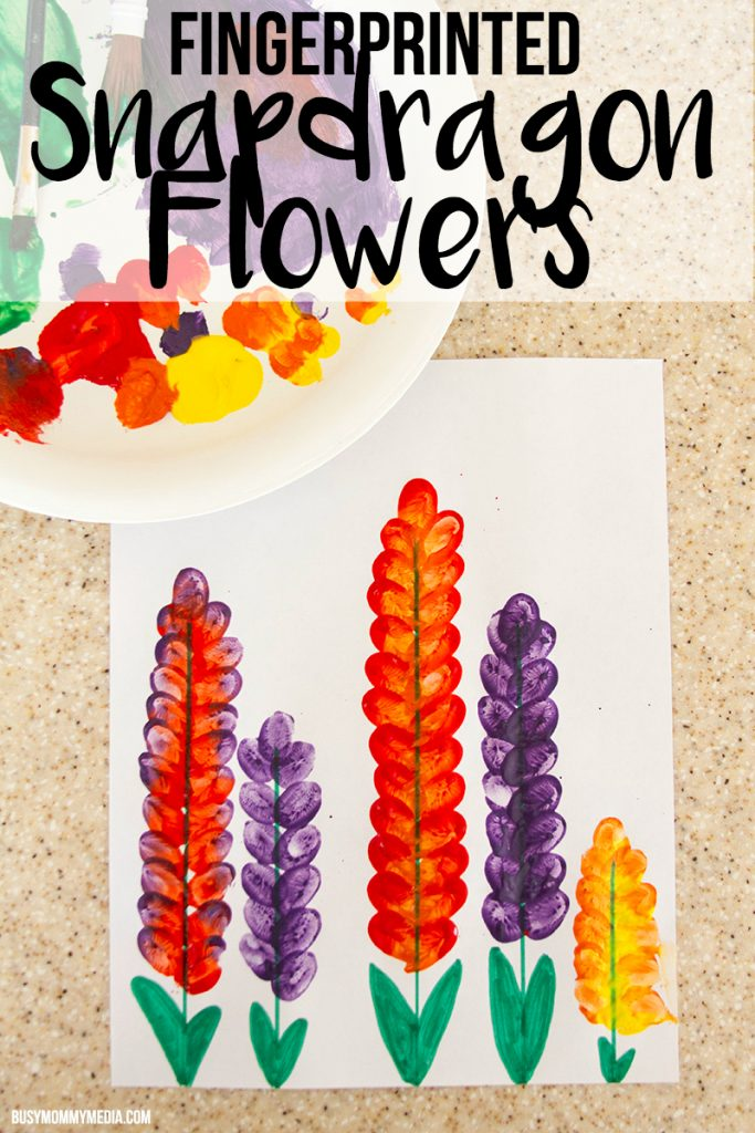 Spring Art for Kids - Fingerprinted Snapdragon Flowers