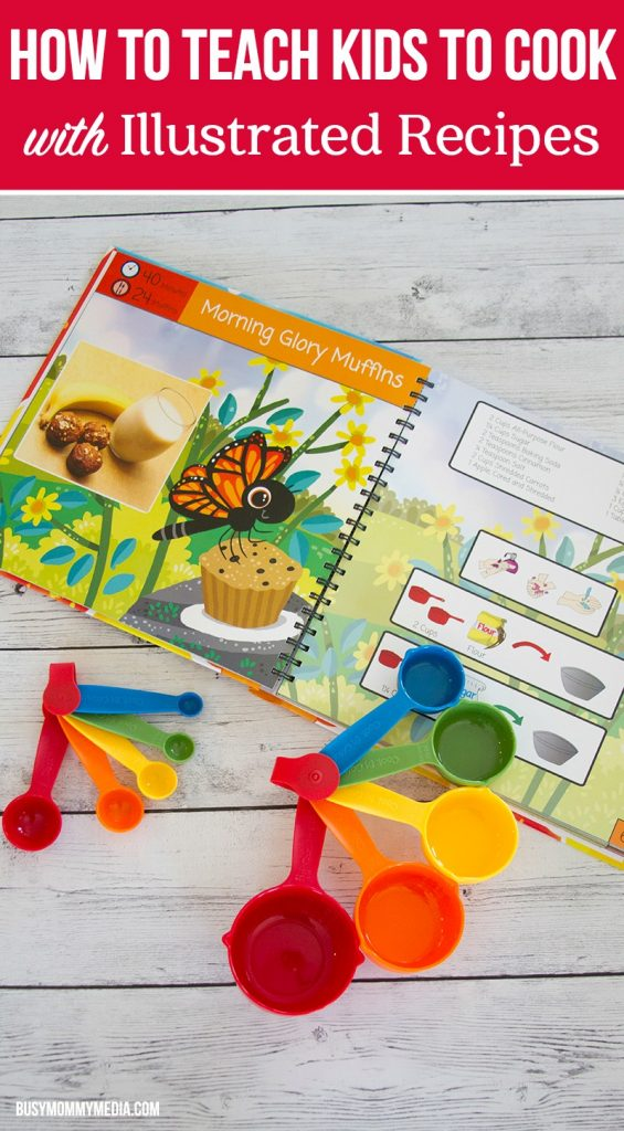 How to Teach Kids to Cook with Illustrated Recipes | This fully illustrated cookbook (complete with color coded measuring cups and measuring spoons) is such a fun way to teach younger kids to cook.