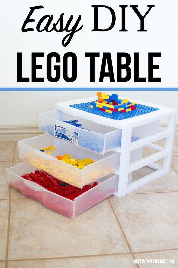 Easy DIY Lego Table | Want to make your own Lego Table? This project takes less than 10 minutes and kids LOVE it when it is done. This would make a great homemade gift idea!