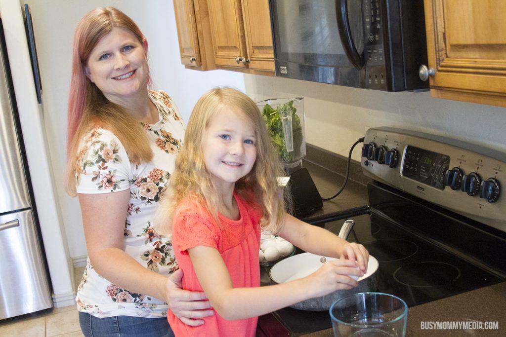 Kids cooking healthy food