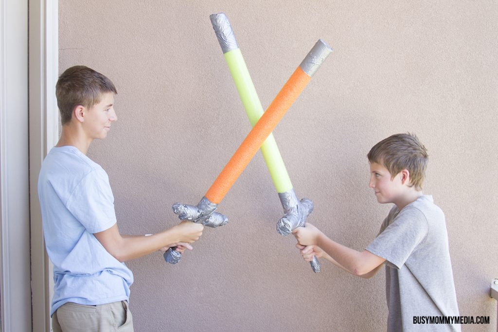 Diy pool noodle swords for Swimming pool applewood swords