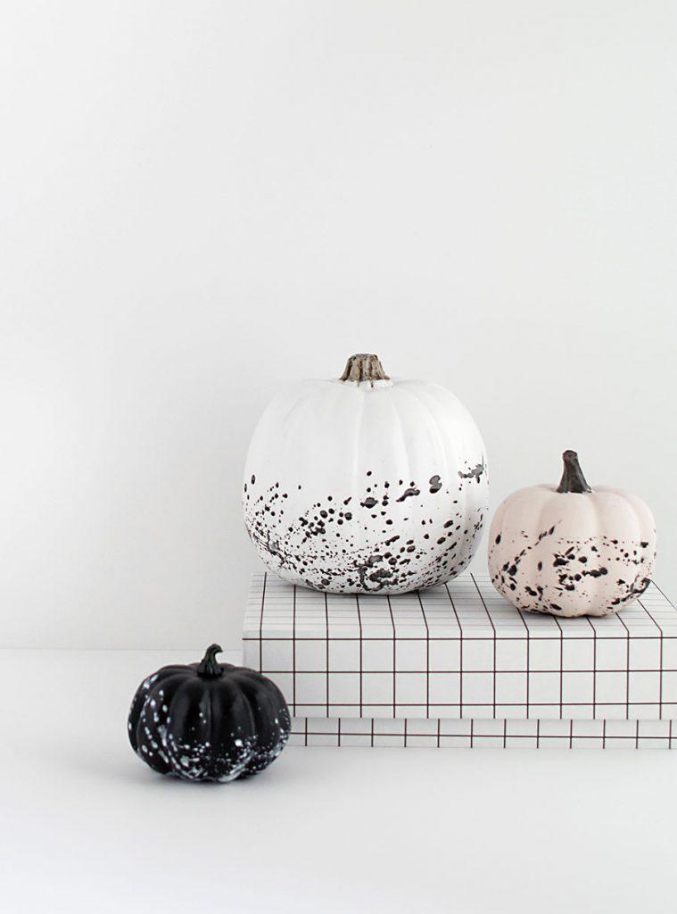 paint splattered pumpkins