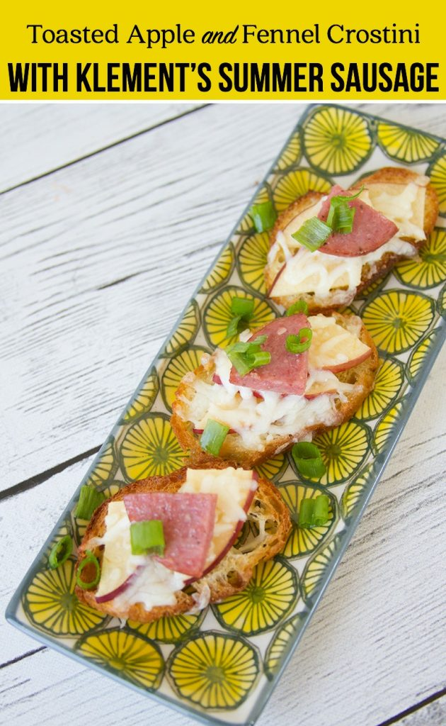 Toasted Apple and Fennel Crostini with Klement's Summer Sausage